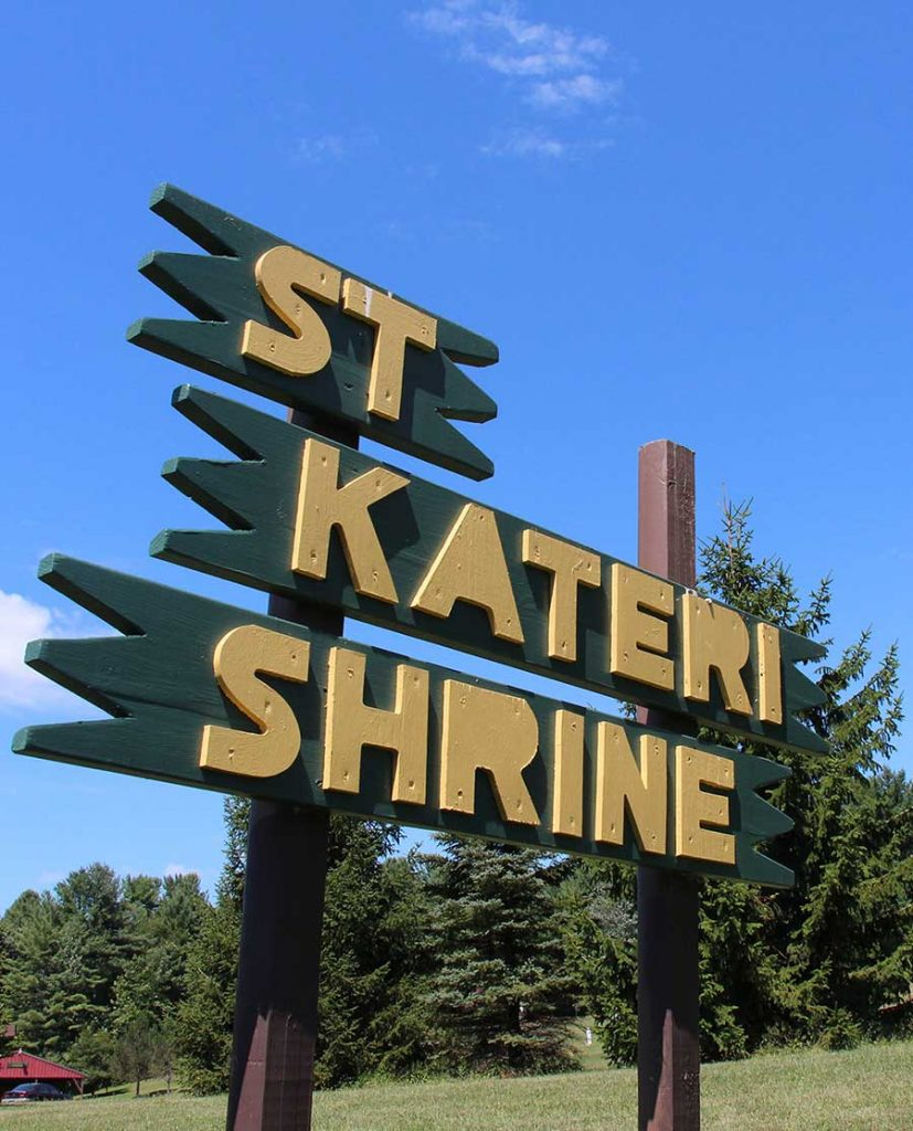 Sign at National Kateri Shrine in Fonda, New York